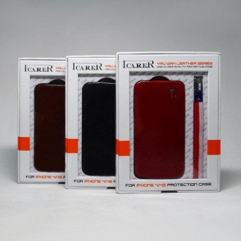 Чехол книга iPhone 4G/4S ICARER кожа (со шнурком)