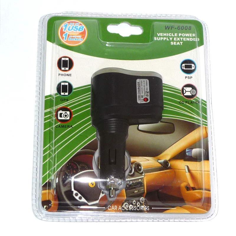 Разветвитель автомобильный на 1 прикуриватель c USB выходом WF-6008