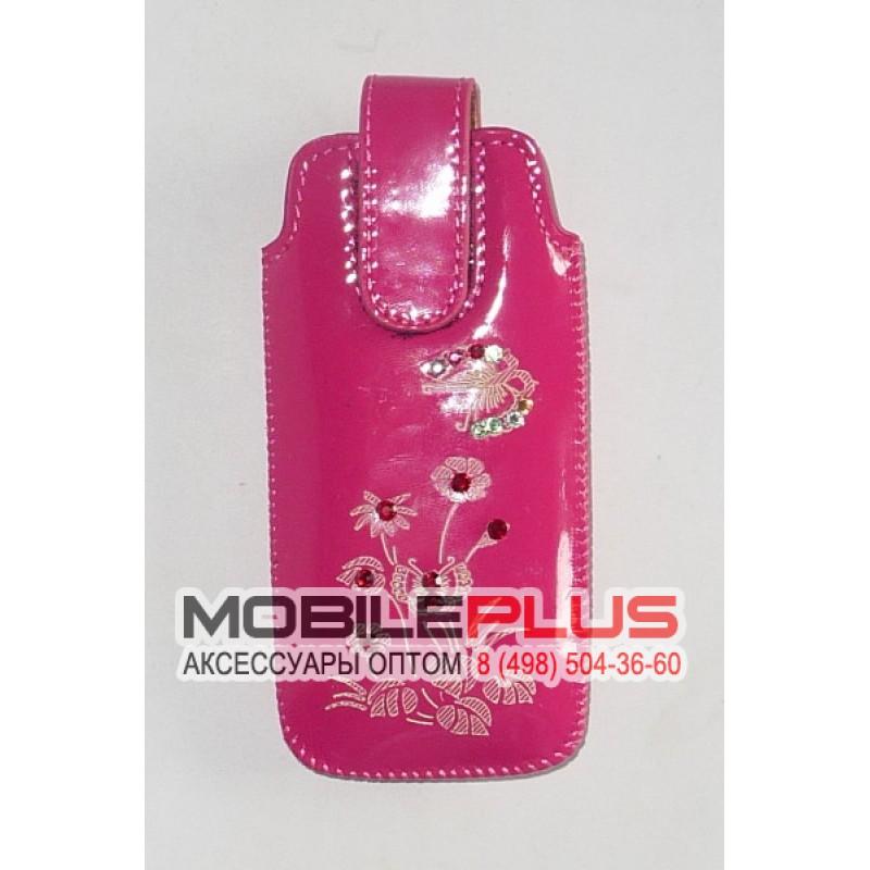 Футляр с язычком Nokia 6300 глянец розовый бабочка со стразами