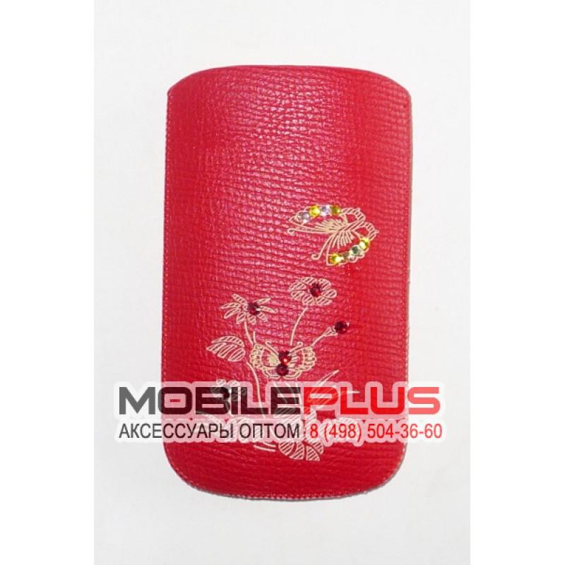 Футляр с язычком Nokia 6300 кожзам красный бабочка со стразами вид 2