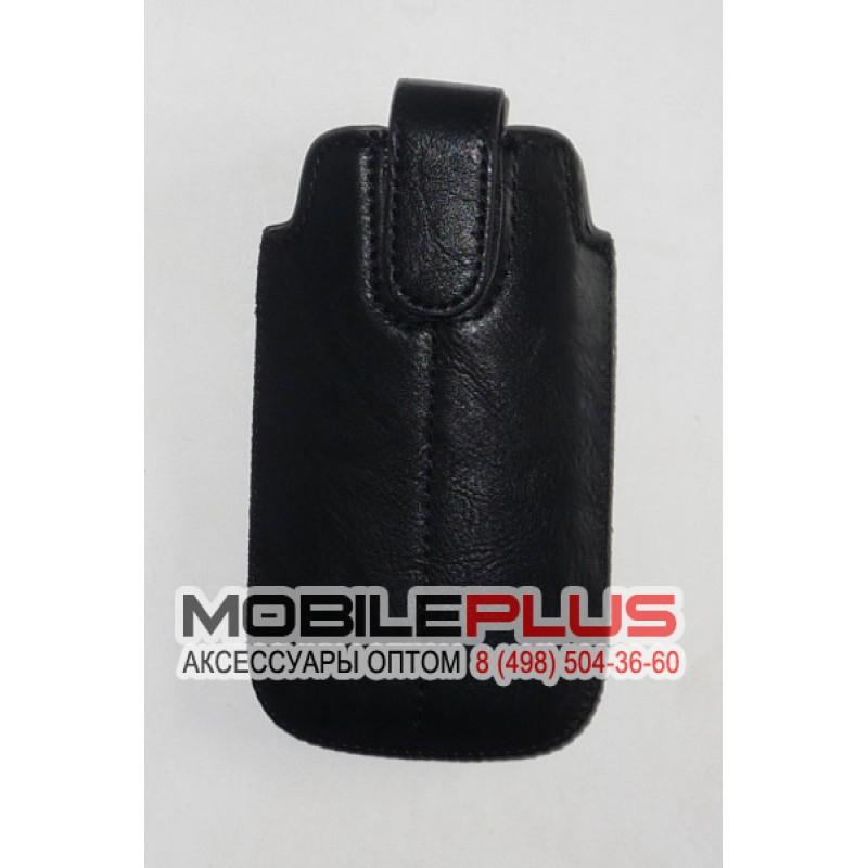 Футляр с язычком Nokia 6300 кожзам черный на липучке