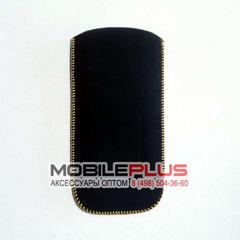 Футляр с язычком Nokia C5 бархат черный вид 2