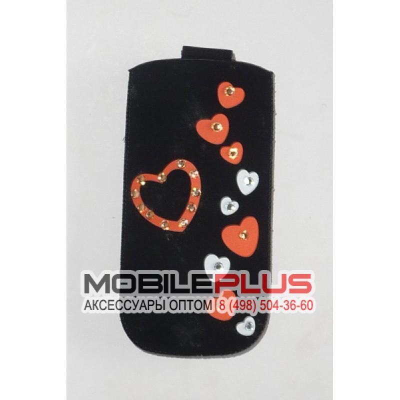Футляр с язычком Nokia C5 бархат черный сердца со стразами