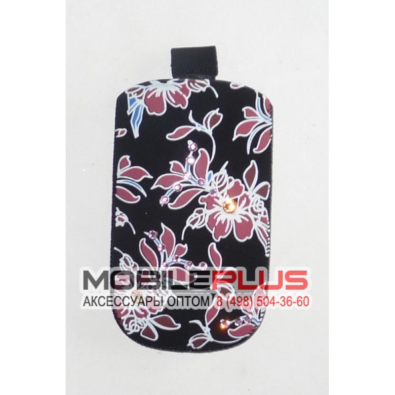 Футляр с язычком Nokia C5 бархат черный цветы со стразами вид 1