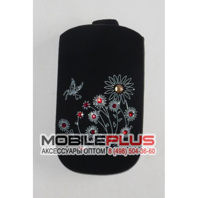 Футляр с язычком Nokia C5 бархат черный цветы со стразами вид 2