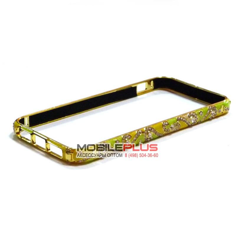 Бампер со стразами металлический для iPhone 5/5S/5SE Вид 14