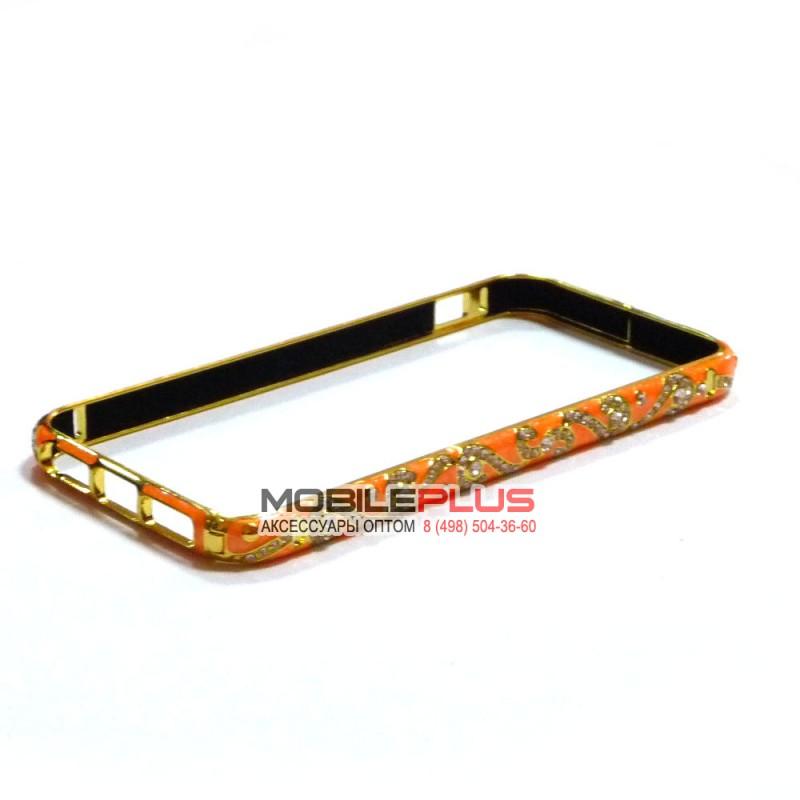Бампер со стразами металлический для iPhone 5/5S/5SE Вид 15