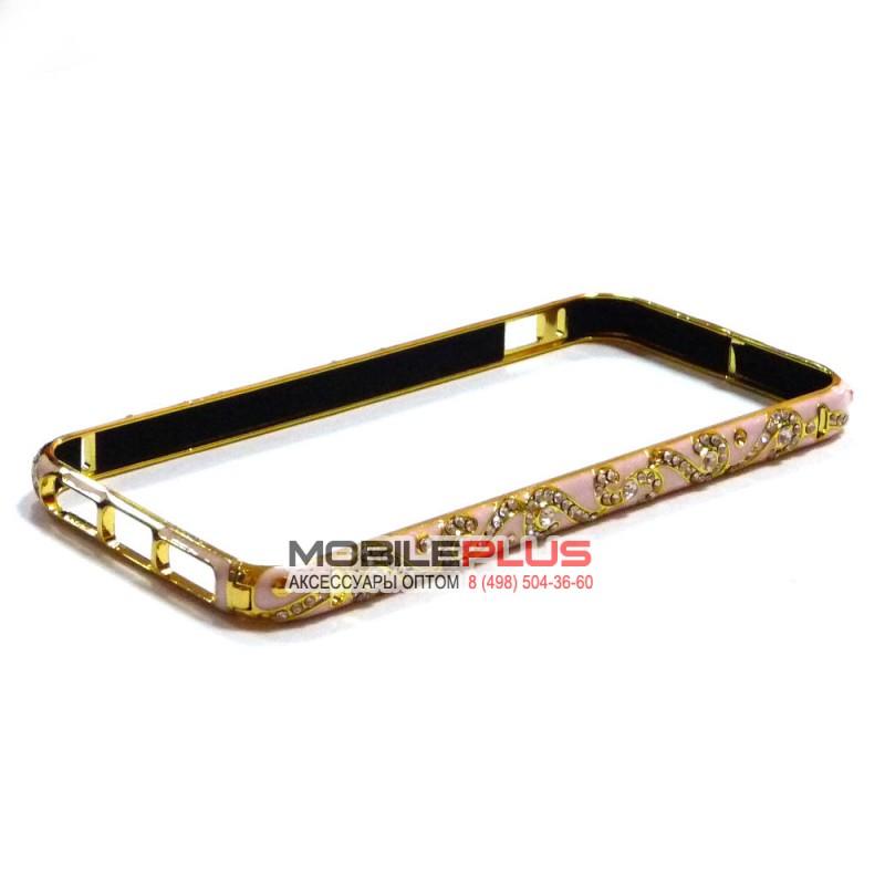 Бампер со стразами металлический для iPhone 5/5S/5SE Вид 17