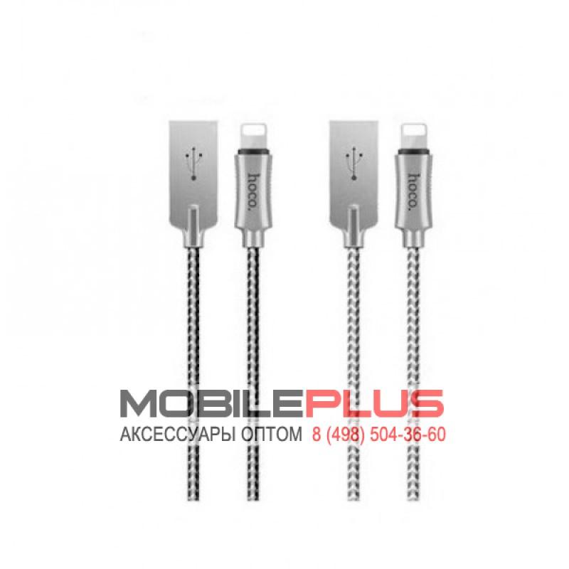 USB кабель 8pin для iPhone 5/6/7 HOCO U10 Zinc Alloy Reflective Knitted Lightning Charging Cable