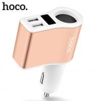 Разветвитель на 1 прикуриватель с 2-мя USB выходами HOCO Z10 2100mA