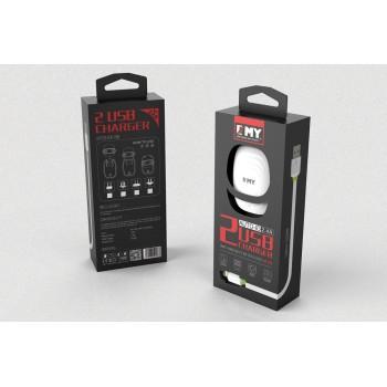 СЗУ 2в1 с 2-мя USB выходами 8pin для iPhone 5/6/7 EMY MY-228 2400mA