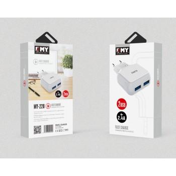 СЗУ 2в1 с 2-мя USB выходами 8pin для iPhone 5/6/7 EMY MY-220 2400mA
