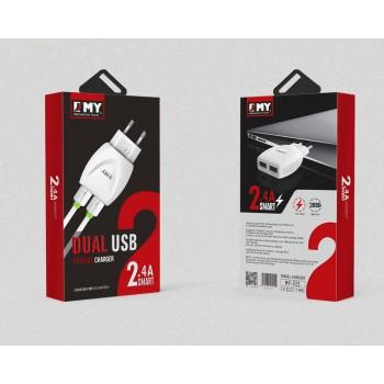 СЗУ 2в1 с 2-мя USB выходами 8pin для iPhone 5/6/7 EMY MY-221 2400mA