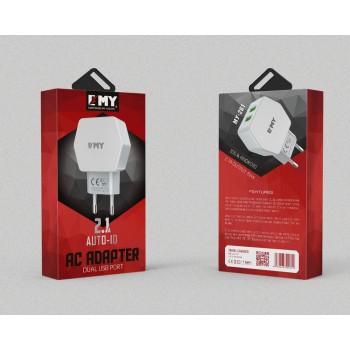 СЗУ 2в1 с 2-мя USB выходами 8pin для iPhone 5/6/7 EMY MY-261 2100mA
