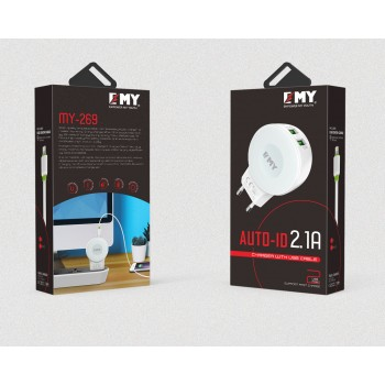 СЗУ 2в1 с 2-мя USB выходами 8pin для iPhone 5/6/7 EMY MY-269 2100mA