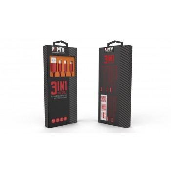 USB кабель 3в1 microUSB/8pin для iPhone 5/6/7 EMY MY-447