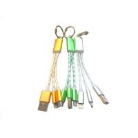 USB кабель 2в1 iPhone 5/5S/6/6S/microUSB брелок силиконовый