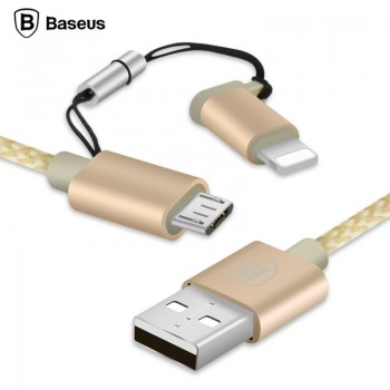 USB кабель 2в1 microUSB/8pin для iPhone 5/6/7 BASEUS Antila CAETRTC-MFI0V 1м