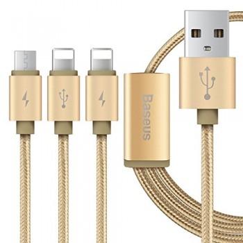 USB кабель 3в1 microUSB/8pin для iPhone 5/6/7 BASEUS Sharing CAMCLH-PN0V 1.2м