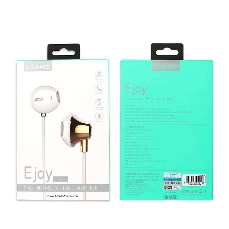 Наушники с микрофоном USAMS Fashionable Metal Earphone Ejoy Series US-SJ022