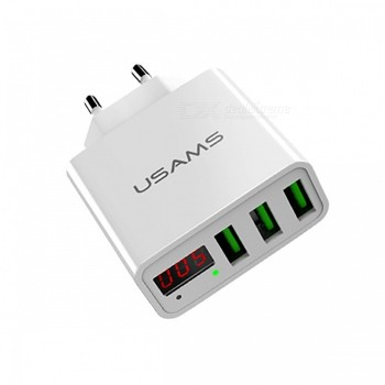 СЗУ с 3-мя USB выходами USAMS 3USB LED Display Travel Charger European Standard US-CC035
