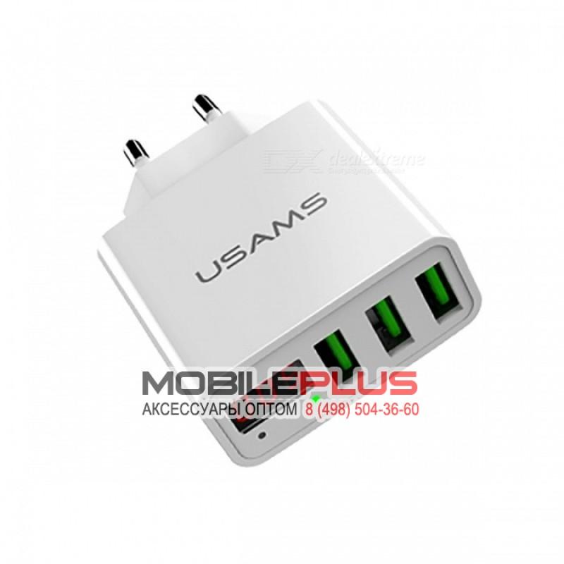 СЗУ с 3-мя USB выходами USAMS 3USB LED Display Travel Charger European Standard US-CC035