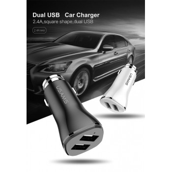 АЗУ с 2-мя USB выходами USAMS Square Dual USB Ports Charger US-CC020 2400mA