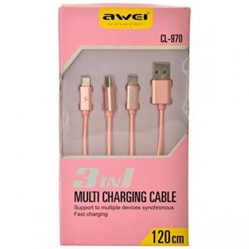 USB кабель 3в1 microUSB/type-c/8pin для iPhone 5/6/7 AWEI CL-970