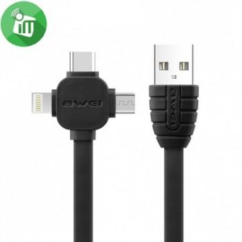 USB кабель 2в1 microUSB/iPhone 5/6/7 AWEI CL-83