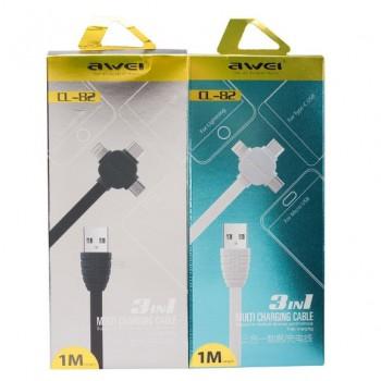 USB кабель 3в1 microUSB/type-c/8pin для iPhone 5/6/7 AWEI CL-82