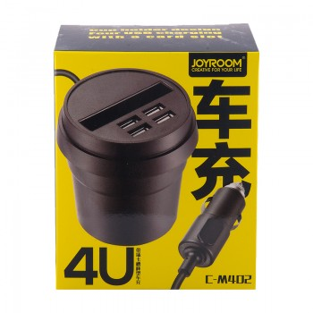 АЗУ с 4-мя USB выходом в подстаканник JOYROOM 3.1A 4U C-M402