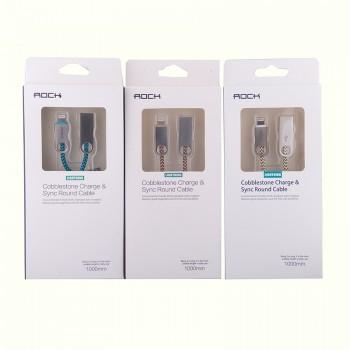 USB кабель 8pin для iPhone 5/6/7 Rock Cobblestone Charge & Sync round cable 1m
