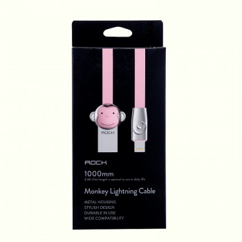 USB кабель 8pin для iPhone 5/6/7 Rock Chinese Zodiac  lightning cable Monkey-Pink