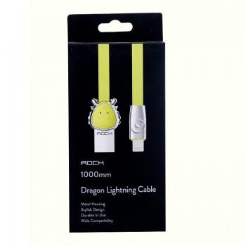 USB кабель 8pin для iPhone 5/6/7 Rock Chinese Zodiac  lightning cable Dragon-Green