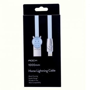 USB кабель 8pin для iPhone 5/6/7 Rock Chinese Zodiac  lightning cable Horse-Blue