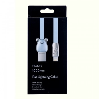USB кабель 8pin для iPhone 5/6/7 Rock Chinese Zodiac  lightning cable Mouse-Blue