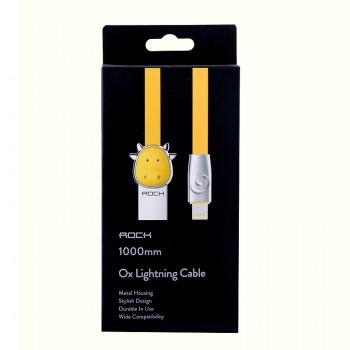 USB кабель 8pin для iPhone 5/6/7 Rock Chinese Zodiac  lightning cable Cow-Yellow