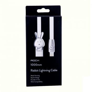 USB кабель 8pin для iPhone 5/6/7 Rock Chinese Zodiac  lightning cable Rabbit-White