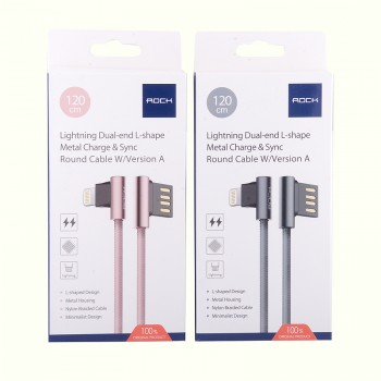 USB кабель 8pin для iPhone 5/6/7 Rock Lightning Dual-end L-shape Metal Charge & Sync round cable w/version A