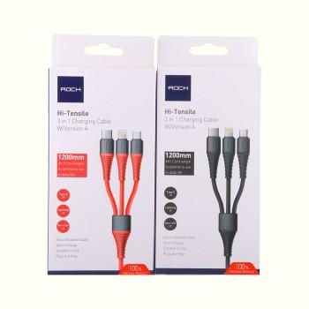 USB кабель 3в1 microUSB/type-c/8pin для iPhone 5/6/7 Rock Hi-Tensile 3 in 1  charging cable w/version A