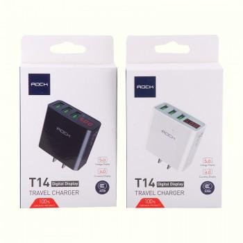СЗУ с 3-мя USB выходами Rock T14 Travel Charger with Digital Display (3-Port)